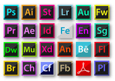 Adobe product icons material design stock illustration