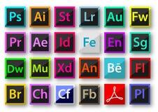 Adobe produktsymboler royaltyfria foton