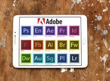 Adobe-programma'semblemen en pictogrammen Stock Foto's