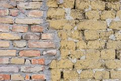 Adobe and red brick wall Royalty Free Stock Images