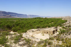Adobe Ruins in Shadow of Chisos Mountains Stock Image