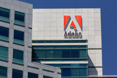 Adobe Systems headquarters in Silicon Valley. SAN JOSE,CA/USA - MAY 11, 2014: Adobe Systems headquarters in Silicon Valley.  Adobe is a multinational software Royalty Free Stock Photo