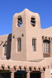 Adobe tower. On shopping mall in Santa Fe, New Mexico Stock Image
