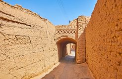 Adobe town of Yazd, Iran. Adobe town of Yazd is one of the oldest, well preserved and still functioning in world, it boasts historic streets with traditional stock image