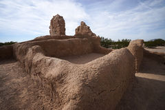 Adobe wall ruins at casa grande arizona Royalty Free Stock Images