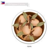 Adobo- eller Filippinernaköttuppståndelse med vinäger och vitlök stock illustrationer