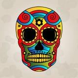 Adoce o crânio México, dia dos mortos - Vector Illustrat Imagem de Stock Royalty Free