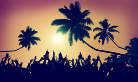 Adolescence Summer Beach Party Outdoors Community Concept.  stock photo