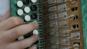 Adolescencia del muchacho que juega en un bayan viejo del vintage verde Un ejemplo ilustrativo del acorde?n interno almacen de video