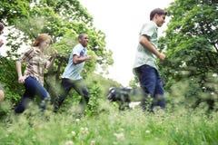 Adolescencias activas en parque Imagen de archivo libre de regalías