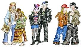 Adolescencias del Hippie, del punky y de la roca stock de ilustración