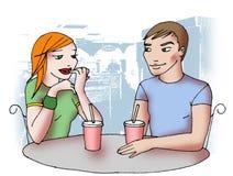 Adolescencias en el café con el fondo Foto de archivo
