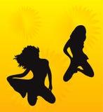 Adolescencias en fondo amarillo con adorno agradable Imagen de archivo