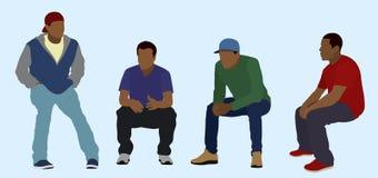 Adolescencias negras asentadas Imagenes de archivo