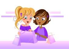 Adolescencias que miran en un bolso de compras - ilustración vectorial Imagen de archivo