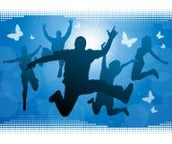 Adolescencias que saltan contra un fondo del verano. ilustración del vector