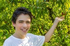 Adolescent à côté des pêchers images libres de droits
