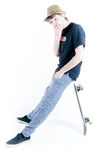 Adolescent émotif avec le patin Photos libres de droits
