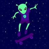 Adolescent étranger mignon de créature patinant dans l'espace sur une planche à roulettes parmi les étoiles sur un fond bleu Illustration de Vecteur