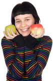 Adolescent with apples Stock Images