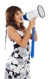 Adolescent avec le mégaphone photo libre de droits