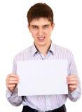 Adolescent avec le papier blanc photo stock