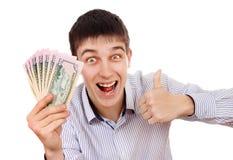 Adolescent avec un argent photo stock