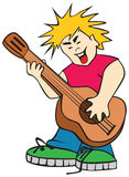 adolescent chanteur ridicule de guitare dessous Image libre de droits