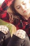 Adolescent dans le vent Photo stock