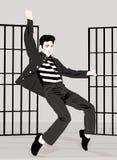 Adolescent Elvis Presley`s posing dancing royalty free illustration