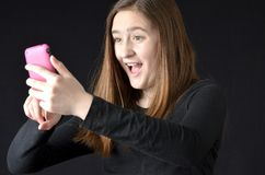 Téléphone portable selfy Photos libres de droits