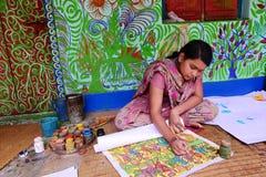 Adolescent Folk Painter Stock Images