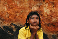Adolescent girl in brick-field Royalty Free Stock Images