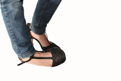 Adolescent girl in high heels Stock Photos