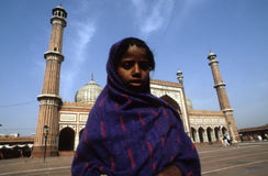 AN ADOLESCENT GIRL AT JAMA MASJID Royalty Free Stock Photo