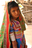 Adolescent Girl in rural Gujarat-India. February 19, 2012-Gujarat,Ran of kutch,India,Asia-A  portrait of a Lambada girl in Gujarat Royalty Free Stock Photography