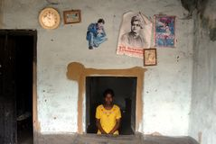 Adolescent Girl in rural India. September 05, 2011.Bolepur,Birbhum,West Bengal,India,Asia-An adolescent girl at her home in a remote village of West Bengal Stock Photo