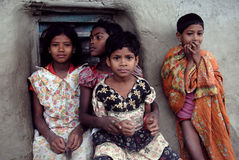 Adolescent Girls in rural India. April 20,2012 Amlamethi,Gosaba,Sundarban,West Bengal,India,Asia-A group of poor girls at the remote village of West Bengal Royalty Free Stock Photo