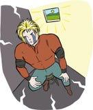 Adolescent hero depression. Red dressed in a dark room Vector Illustration