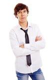Adolescent latin avec les bras croisés Images libres de droits
