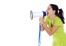 Adolescent with megaphone. A over white background royalty free stock photos