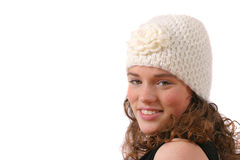 Adolescent mignon avec le chapeau drôle de laines Image stock
