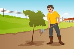 Adolescent plantant une illustration d'arbre illustration de vecteur