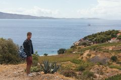 Adolescent travels to the countryside along the Adriatic coast. In summer Stock Photos