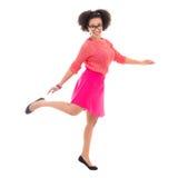 Adolescente afroamericano feliz en la presentación rosada Fotografía de archivo
