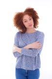 Adolescente afroamericano joven con los brazos doblados, o aislado Foto de archivo