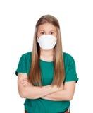 Adolescente alérgico con la mascarilla Foto de archivo libre de regalías