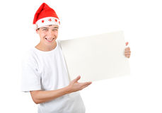 Adolescente alegre con el tablero blanco Imagen de archivo
