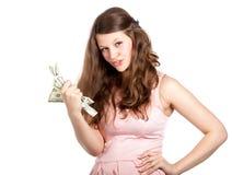Adolescente alegre con los dólares en sus manos Fotos de archivo