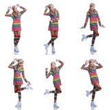 Adolescente alegre lindo que lleva el suéter, la bufanda, guantes coloridos y el sombrero rayados aislados en el fondo blanco Rop Imágenes de archivo libres de regalías